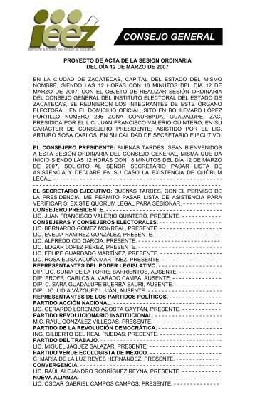 Acta de la Sesión Ordinaria 12 Mar 2007 - Instituto Electoral del ...