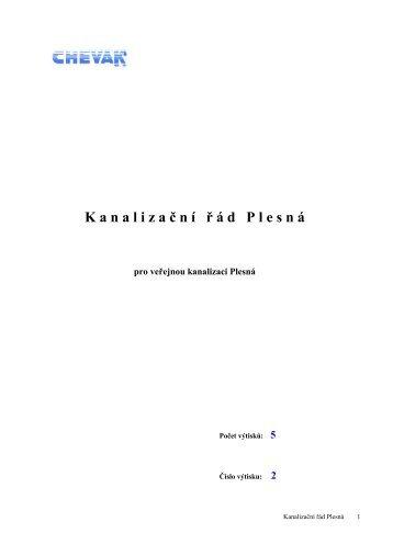 Kanalizační řád města Plesná - CHEVAK Cheb, a.s.
