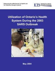 Utilization of Ontario's Health System During the 2003 SARS ...