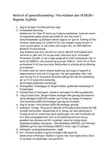 Referat af generalforsamling den 14. august 2008 - Ylva