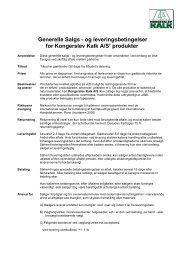Generelle Salgs - og leveringsbetingelser for Kongerslev Kalk A/S ...