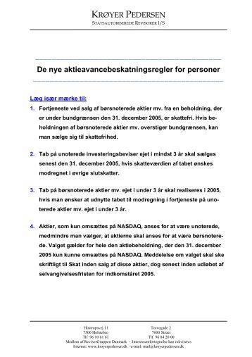 De nye aktieavancebeskatningsregler for personer - KRØYER ...