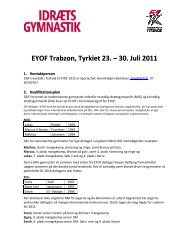 EYOF Trabzon, Tyrkiet 23. – 30. Juli 2011 - Danmarks Gymnastik ...