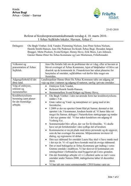 Referat af Kredsrepræsentantskabsmøde torsdag d ... - Friluftsrådet