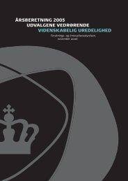 årsberetning 2005 udvalgene vedrørende videnskabelig uredelighed