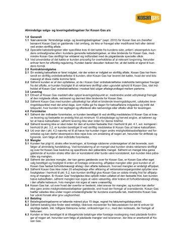 Almindelige salgs- og leveringsbetingelser for BP Gas ... - Kosan Gas