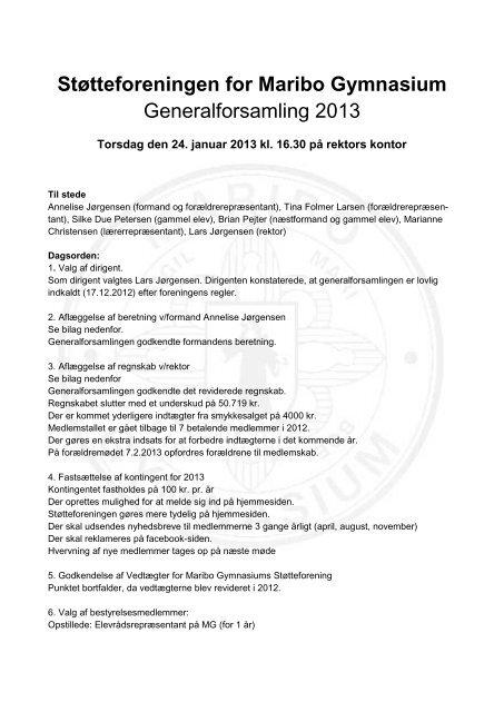 Referat af generalforsamling i Maribo Gymnasiums Støtteforening ...