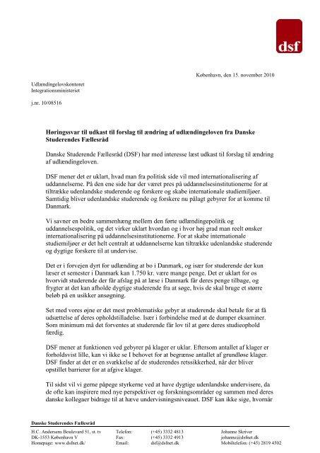 Høringssvar vedr. nye udlændingeregler - Danske Studerendes ...