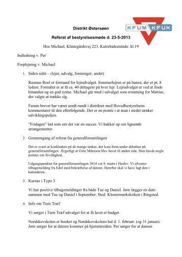 Distrikt Østersøen Referat af bestyrelsesmøde d. 23-5-2013 Hos ...