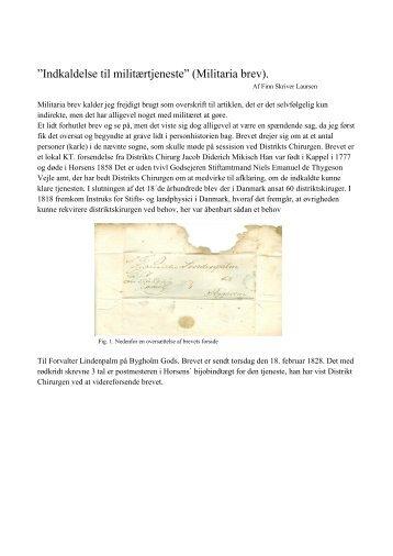 """Indkaldelse til militærtjeneste"""" (Militaria brev). - Finn Skriver Laursen"""