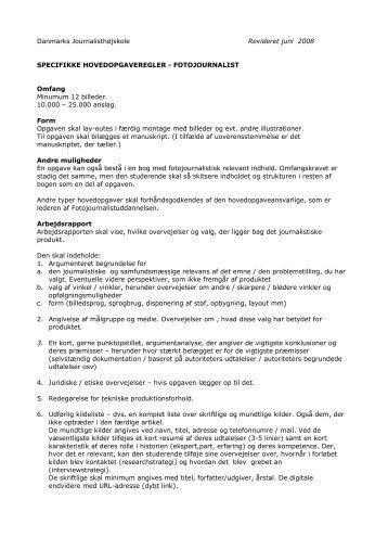 Specifikke hovedopgaveregler - fotojournalist - Danmarks Medie- og ...