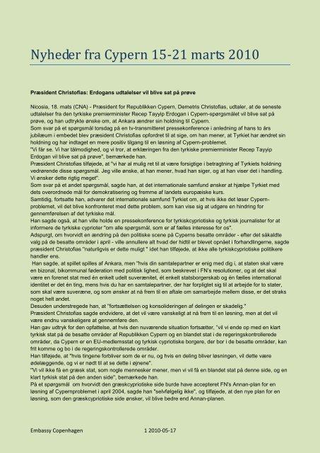 Nyheder fra Cypern 15-21 marts 2010