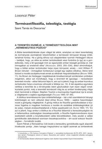 Természetfilozófia, teleológia, teológia - Világosság