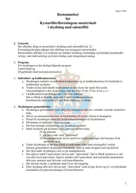 Bestemmelser for Landsskyttestævne 2003 - Kystartilleriforeningen