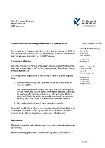 Dispensation til oprensning af sø i Vorbasse - Billund Kommune