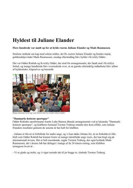 Juliane og Mads hyldes - artikel bringes med tilladelse - Odder Roklub