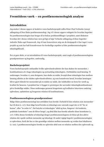 Fremtidens værk – en postfænomenologisk analyse - Louise S. Lessél