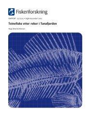 Rapport 22-2002 Teinefiske etter reker i Tanafjorden.pdf - Nofima