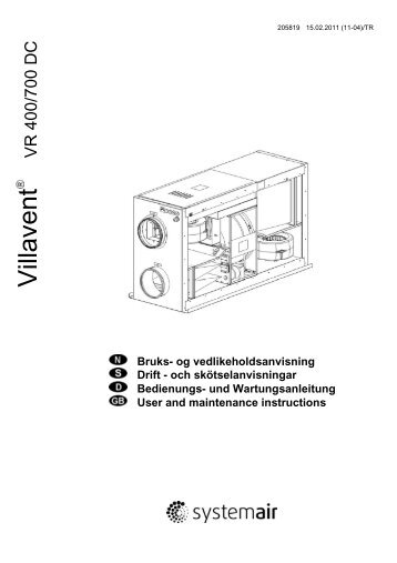 Air Handling Unit Systemair VR 400 DCV/B-700 DCV User manual