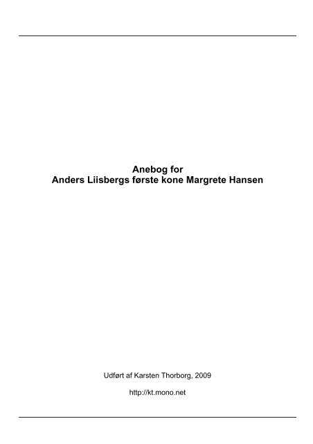 Anebog for Margrete Hansen - Thorborg - Liisberg Hjemmeside ...