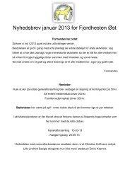 Nyhedsbrev januar 2013 for Fjordhesten Øst