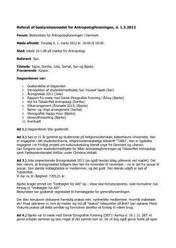 Referat af bestyrelsesmødet for Antropologforeningen, d. 1.3.2012