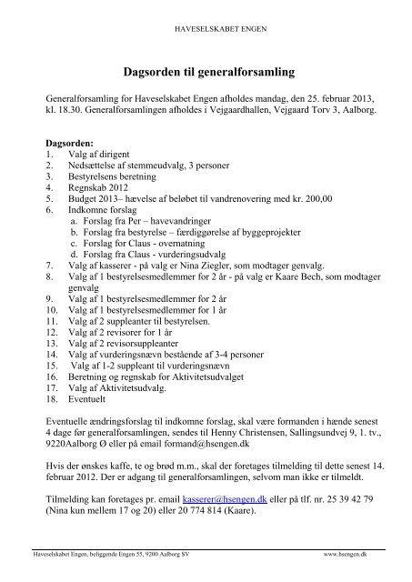 Dagsorden til generalforsamling - Haveselskabet Engen