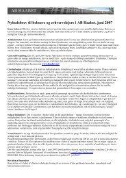 Nyhedsbrev til beboere og erhvervslejere i AB Haabet, juni 2007