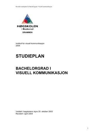 studieplan bachelorgrad i visuell kommunikasjon - Styret