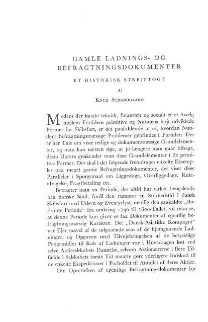 Knud Strandgaard: Gamle ladnings- og befragtningsdokumenter