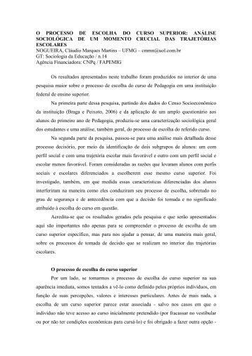 O PROCESSO DE ESCOLHA DO CURSO SUPERIOR ... - ANPEd