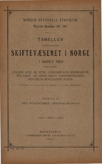 Tabeller vedkommende Skiftevæsenet i Norge i Aaret 1901 - SSB