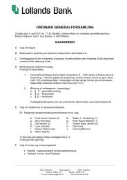Generalforsamling 2013 - Dagsorden - Lollands Bank