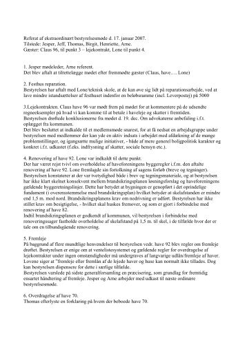 Bestyrelsesreferat 17.01.2007 - Haveforeningen Kalvebod