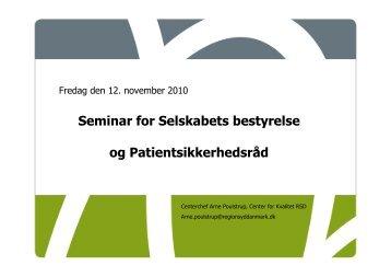 Seminar for Selskabets bestyrelse og Patientsikkerhedsråd
