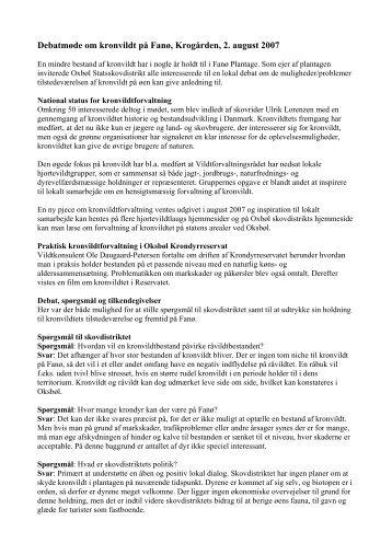 Debatmøde om kronvildt på Fanø, Krogården, 2 - Naturstyrelsen