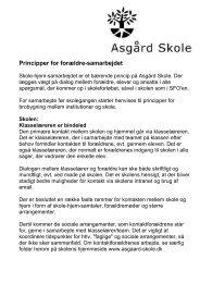 Principper for forældre-samarbejdet - Asgård Skole