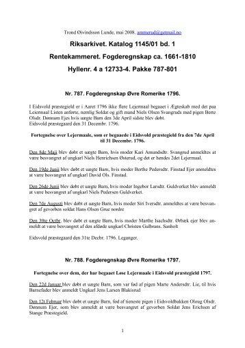 Riksarkivet. Katalog 1145/01 bd. 1 Rentekammeret ... - DIS-Norge