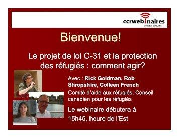 Le projet de loi C-31 et la protection des réfugiés : comment agir? (pdf)