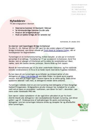 Nyhedsbrev, DBF 2012 - Danmarks Bridgeforbund
