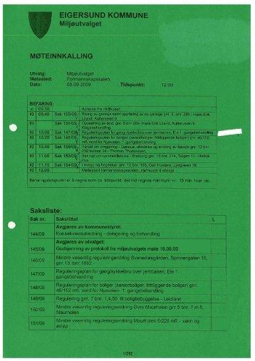 Saksliste: EIGERSUND KOMMUNE Miljøutvalget MØTEINNKALLING
