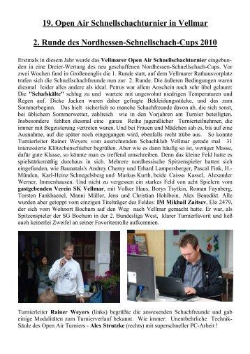 19. Open Air Schnellschachturnier in Vellmar 2. Runde des ...