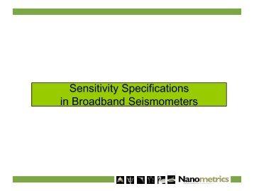 Sensitivity Specifications in Broadband Seismometers