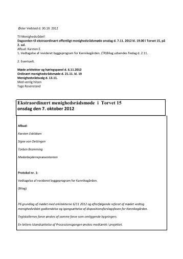 Ekstraordinært Menighedsrådsmøde 07/11 2012 - Ribe Domkirke