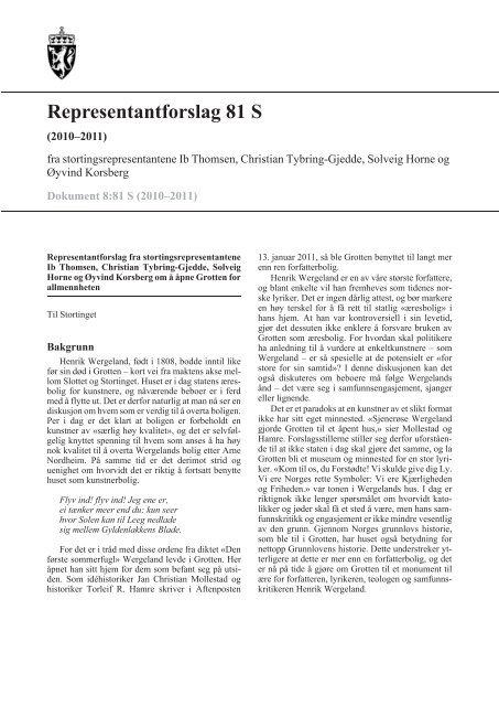 Representantforslag 81 S - Stortinget