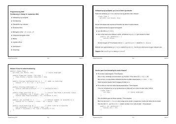 overlæsning, klassefelter og -metoder (static), konstante felter