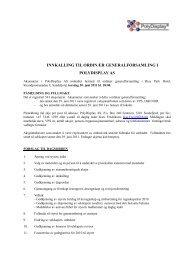 innkalling til ordinær generalforsamling i polydisplay as
