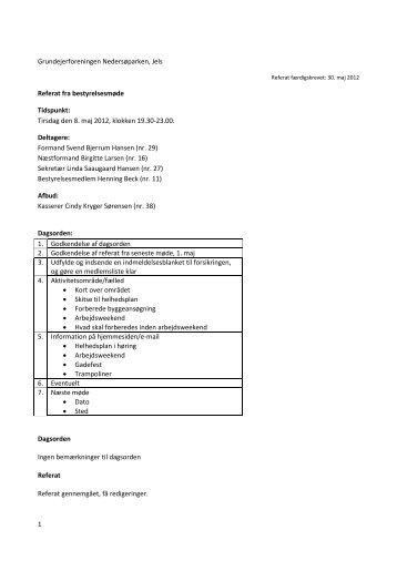 Link til referat fra bestyrelsesmødet - Grundejerforeningen ...