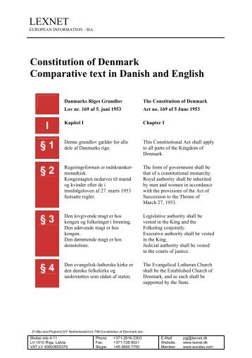 LEXNET Constitution of Denmark Comparative text in Danish and ...