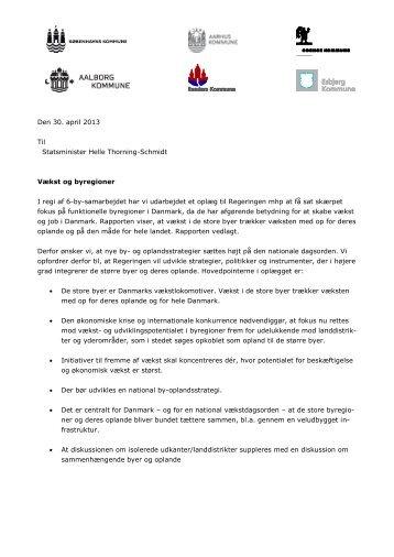 Borgmestrenes brev til Statsminister Helle Thorning ... - Aarhus.dk